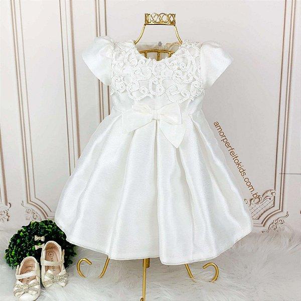 Vestido de festa bebê Petit Cherie batizado renda com cristais Tam P