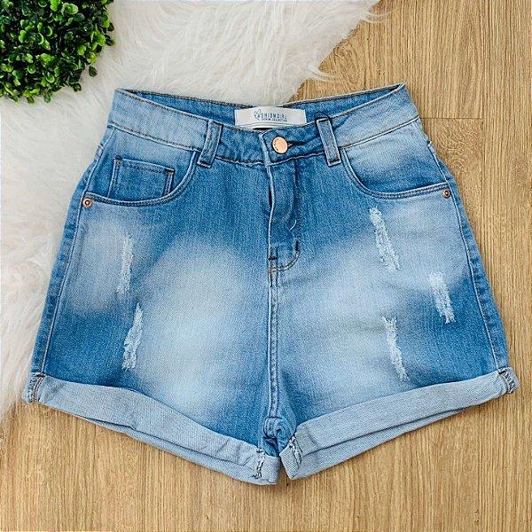 Short jeans teen cintura média barrinha dobrada