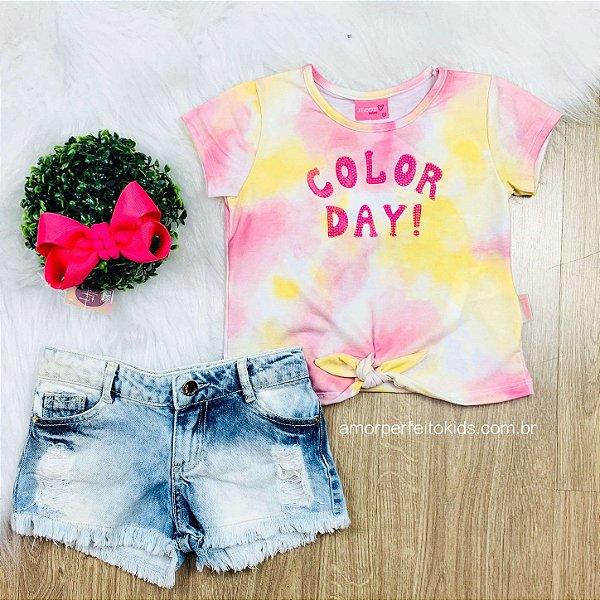 Blusa infantil tie dye color day nózinho amarela e rosa Momi Tam 3