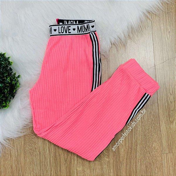 Calça infantil Momi jogger rosa neon com faixa lateral