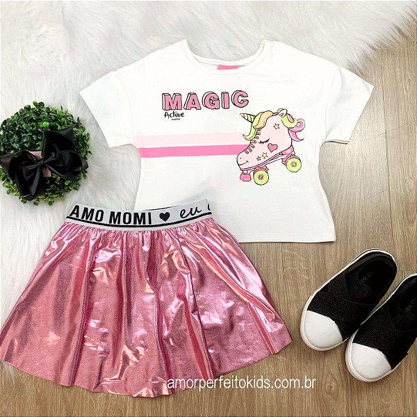 Conjunto infantil Momi blusa cropped magic patins unicórnio saia cirrê rosa Tam 1