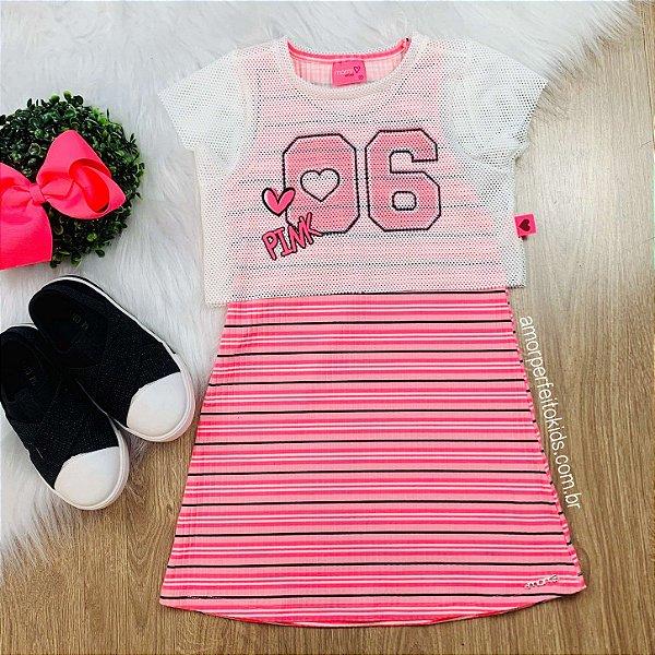 Vestido infantil Momi listrado pink neon com blusa em tela Tam 1