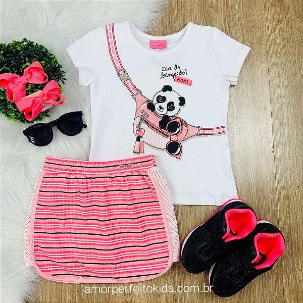 Conjunto infantil Momi blusa pandinha saia neon Tamanho 1