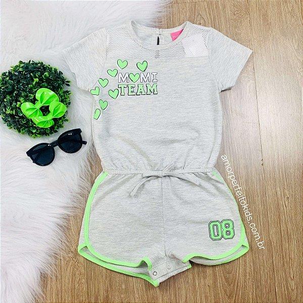 Macaquinho infantil Momi team mescla e verde neon