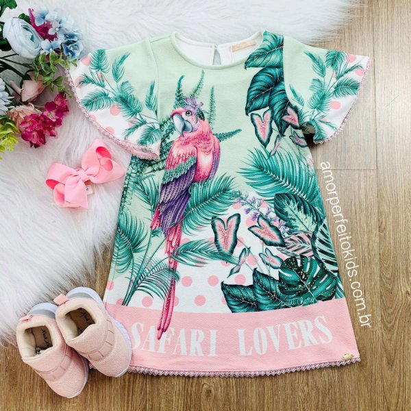 Vestido infantil Petit Cherie casual safari arara rosa verde Tam 1