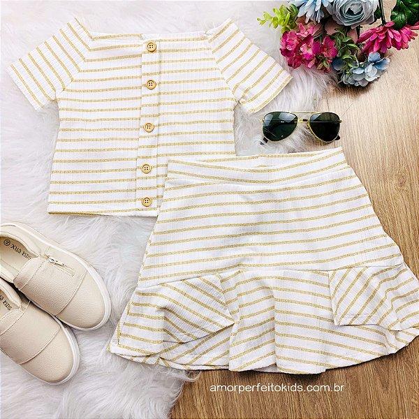 Conjunto de saia infantil Petit Cherie listrado off white e dourado