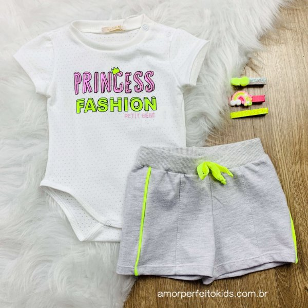 Conjunto de bebê menina Petit Cherie verão colorfull princess neon