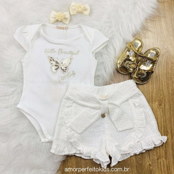 Conjunto de bebê menina Petit Cherie body borboleta e short off white
