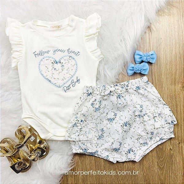 Conjunto de bebê menina Petit Cherie verão body e shorts florzinha off white