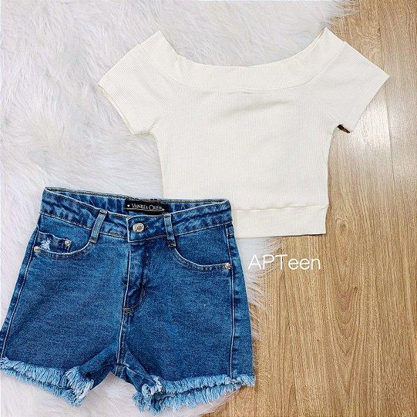 Short jeans teen feminino Vanilla Cream tumblr
