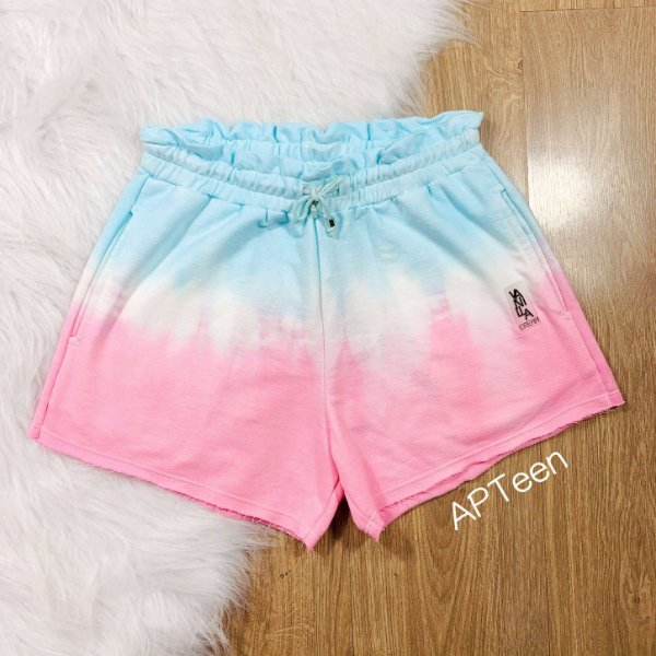 Short teen Vanilla Cream tie dye rosa e azul tumblr Tam 20