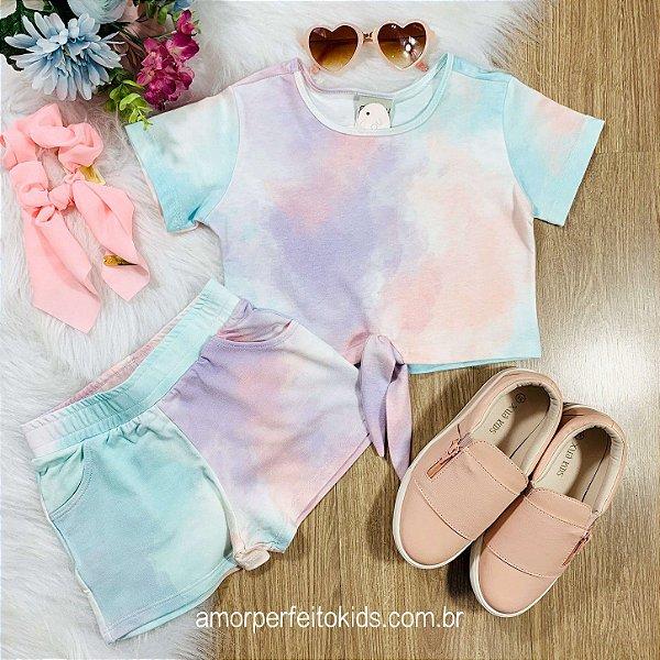 Conjunto infantil Catbalou blusa nózinho e shorts tie dye candy color Tam 4