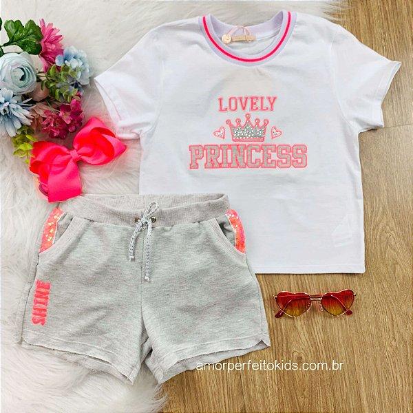 Conjunto infantil Petit Cherie verão colorfull blusa princess shorts moletom pink neon