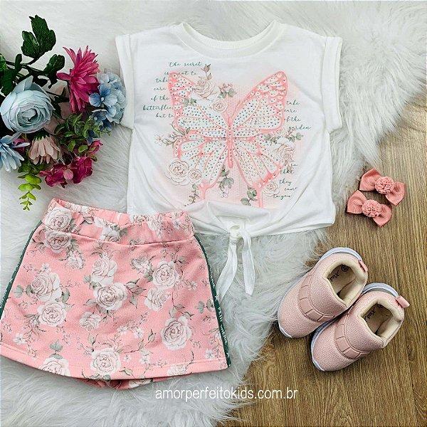 Conjunto infantil Petit Cherie verão romantic blusa borboleta short-saia rosa Tam1