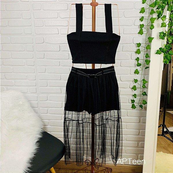 Saia midi teen Fashion Girl tule listrado com cinto preta tumblr