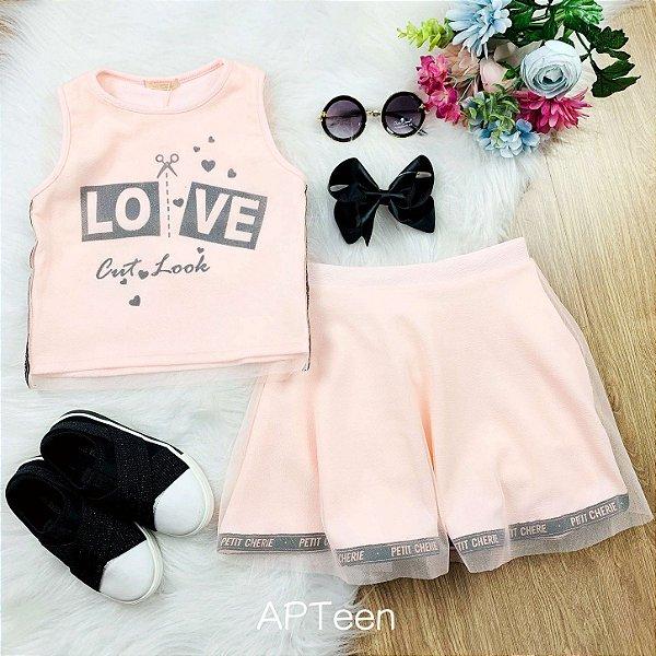 Conjunto de saia infantil Petit Cherie verão tule love rosa claro