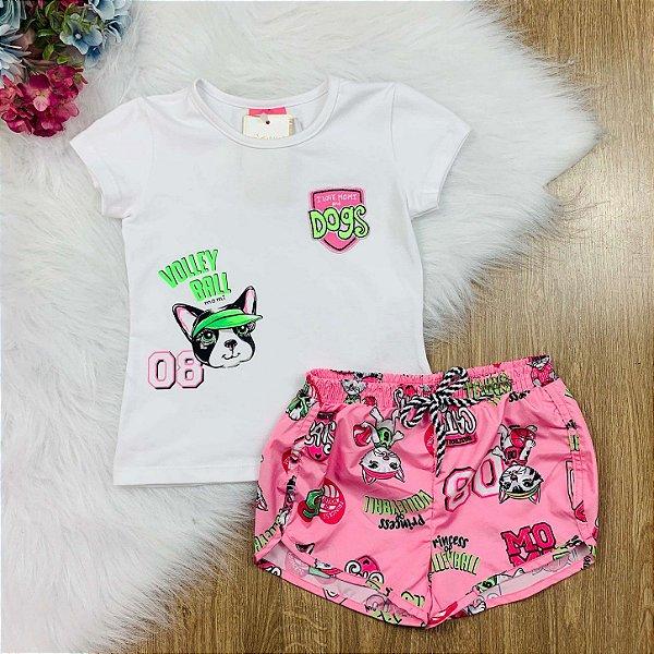Conjunto infantil Momi blusa dogs e shorts corta-vento cat sport rosa