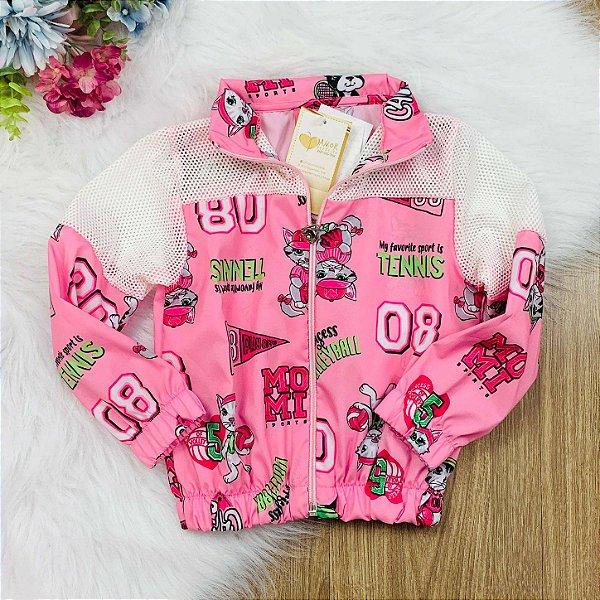 Jaqueta infantil Momi corta vento cats rosa