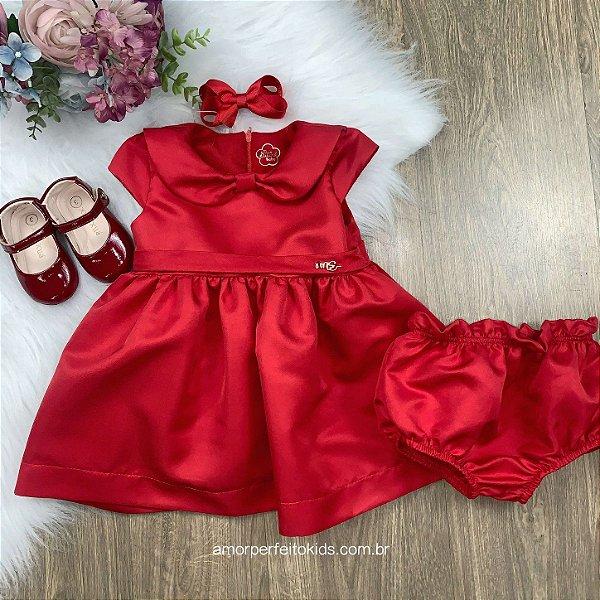 Vestido de festa bebê Alicia vermelho com calcinha