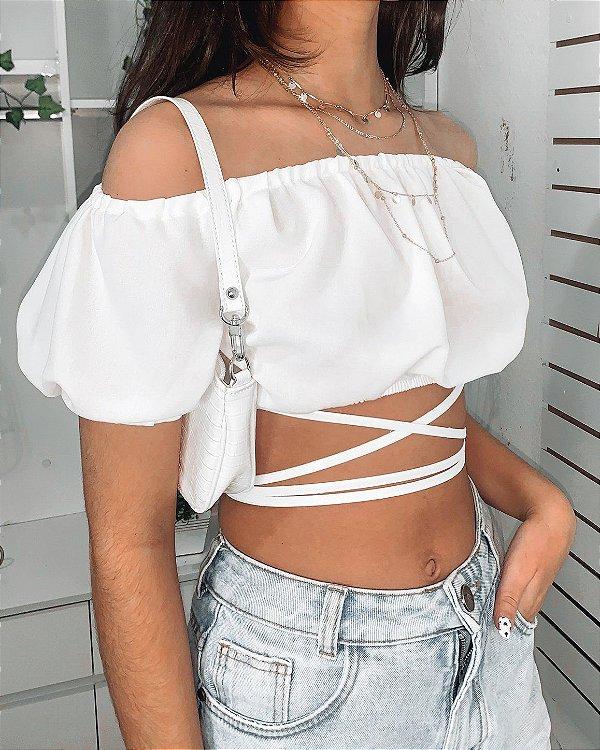 Cropped Branco Teen Ciganinha Amelie
