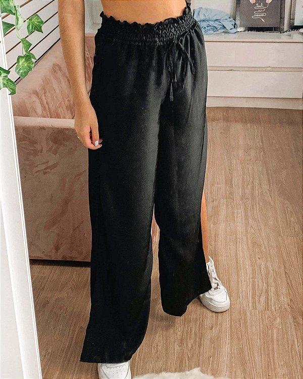 Calça pantalona feminina Billie preta com fenda