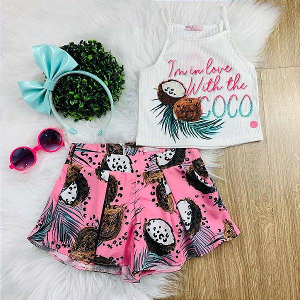 Conjunto infantil Mon Sucre blusa cropped com shorts coco