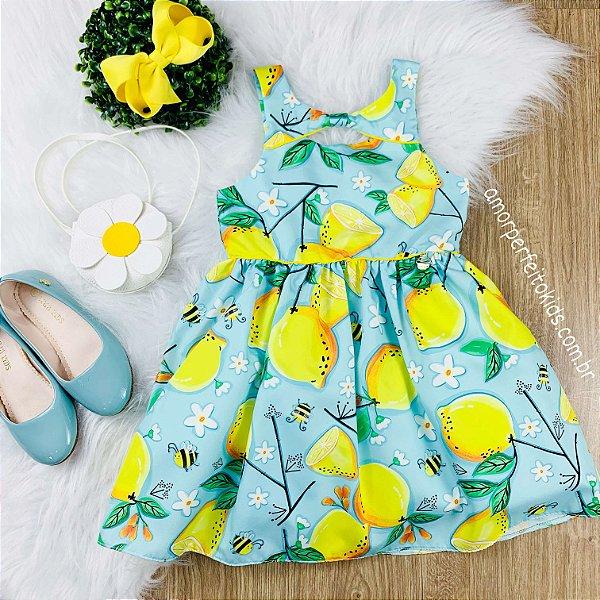 Vestido infantil Mon Sucré limão siciliano bolsa flor azul e amarelo Tamanho 8