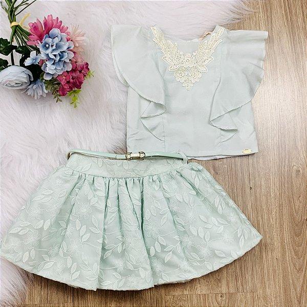 Conjunto Infantil Petit Cherie Saia Rodada e Blusa de Babado Verde Tam 2