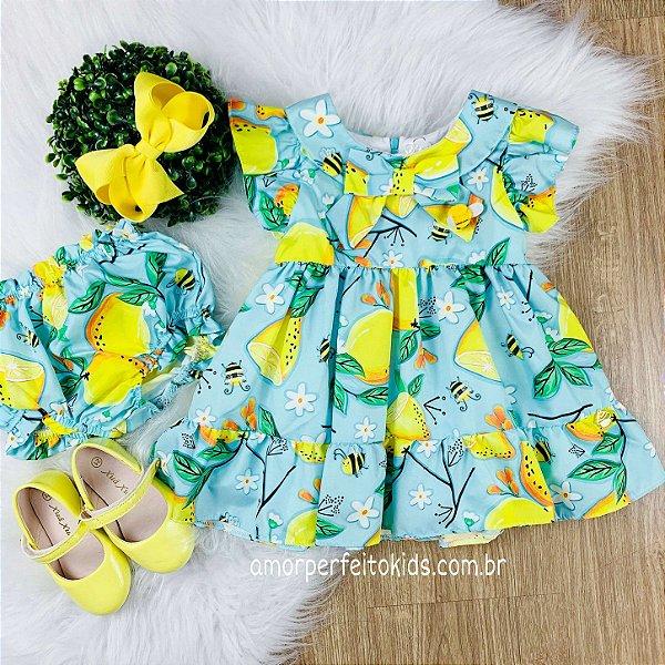 Vestido bebê Mon Sucré limão siciliano com calcinha azul e amarelo Tam M
