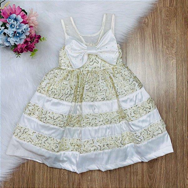 Vestido infantil de festa Petit Cherie bordado com paête dourado