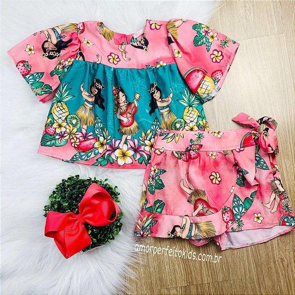 Conjunto infantil Mon Sucré blusa short-saia hula-hula Moana Tamanho 3