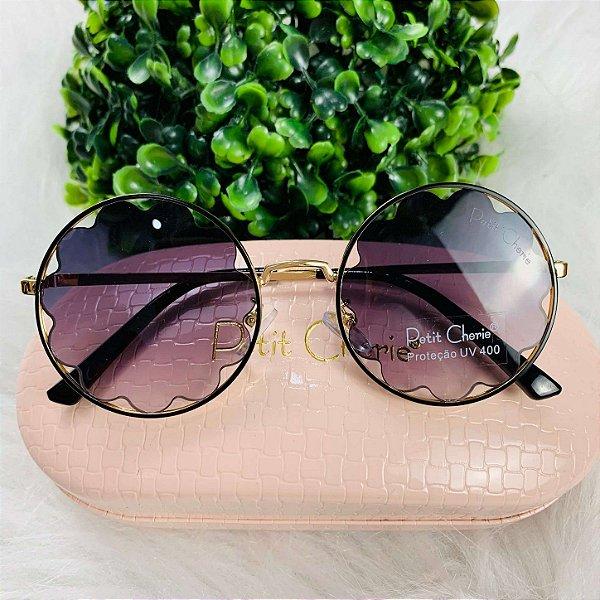 Óculos de sol infantil Petit Cherie redondo