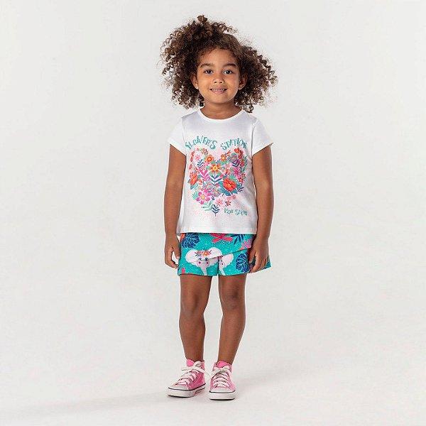 Conjunto infantil Mon Sucré blusinha floral com short bichos verde Tam 4