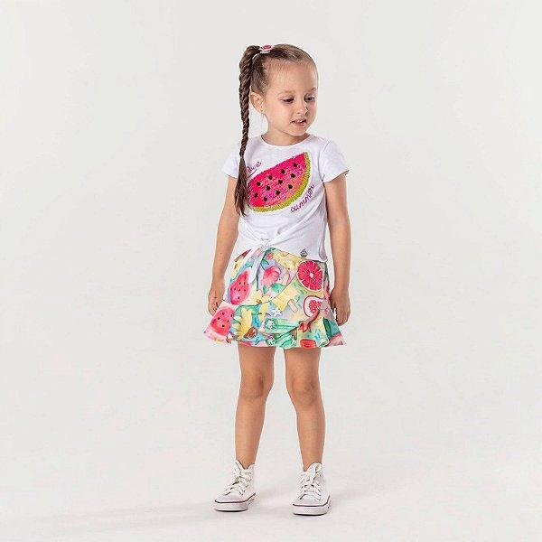 Conjunto infantil Mon Sucré blusa melancia paetês love summer com saia frutas colorida