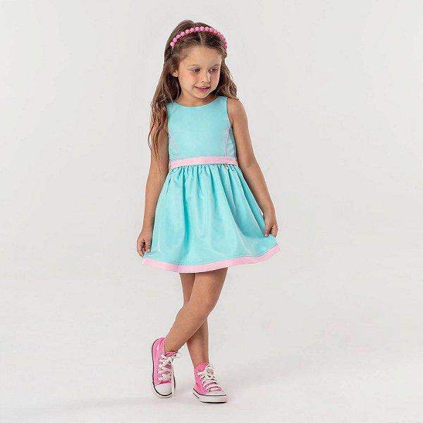 Vestido infantil Mon Sucré liso verde água e rosa sereia