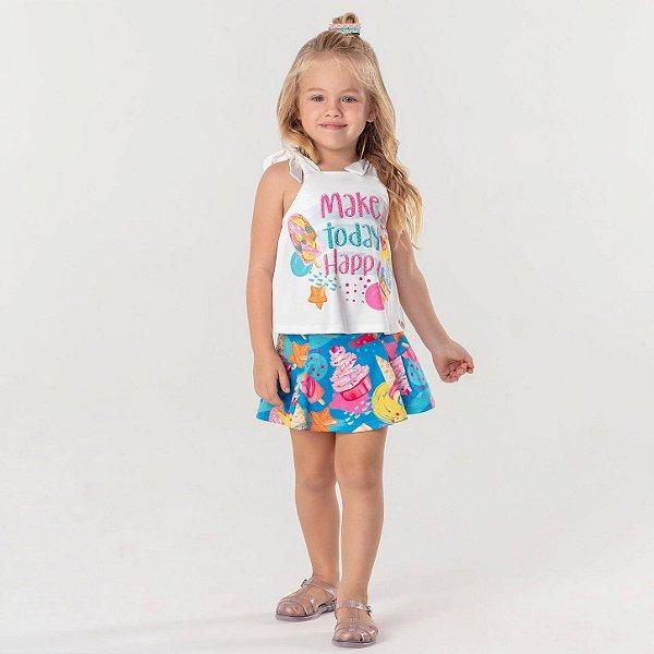 Conjunto infantil Mon Sucré blusinha e short-saia sorvete azul e rosa Tamanho 2