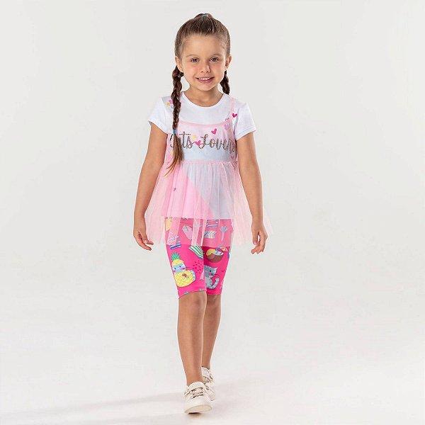 Conjunto infantil Mon Sucré 3 peças blusinha cat lovers com tule e legging