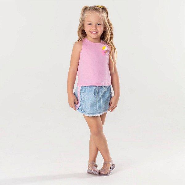 Saia jeans infantil Mon Sucré com faixas laterais