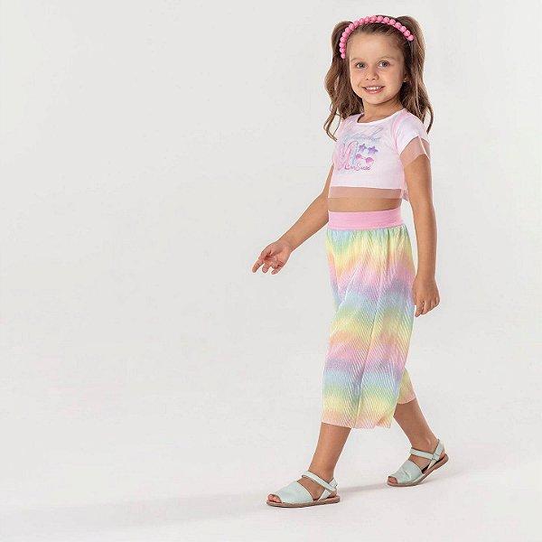 Conjunto infantil Mon Sucré cropped e pantacourt colorida sereia