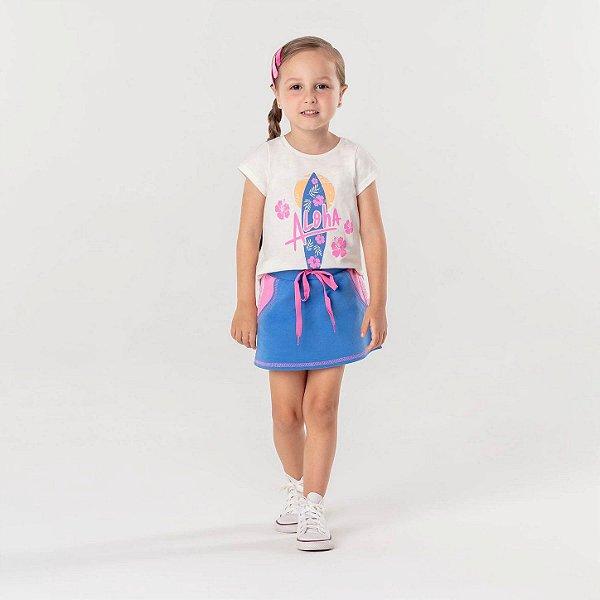 Conjunto infantil de saia Mon Sucré blusa Aloha surf girl azul