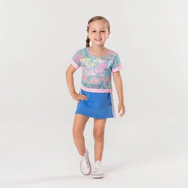 Blusa infantil Mon Sucré cropped tela coqueiros surf girl rosa
