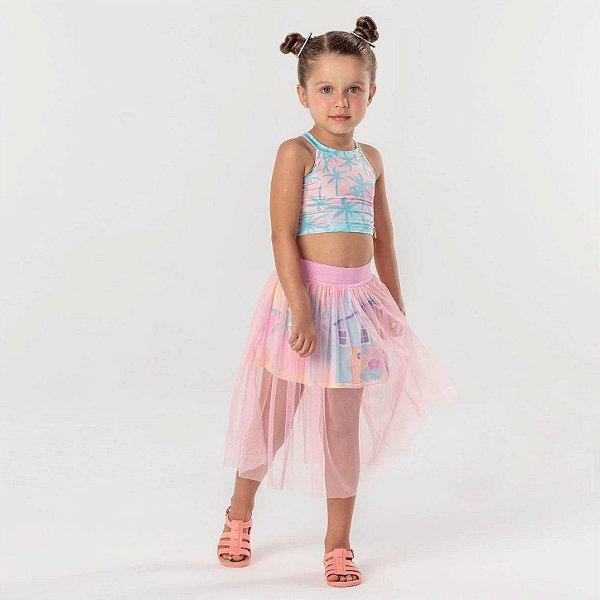 Conjunto infantil cropped com saia tule midi coqueiros rosa Mon Sucre