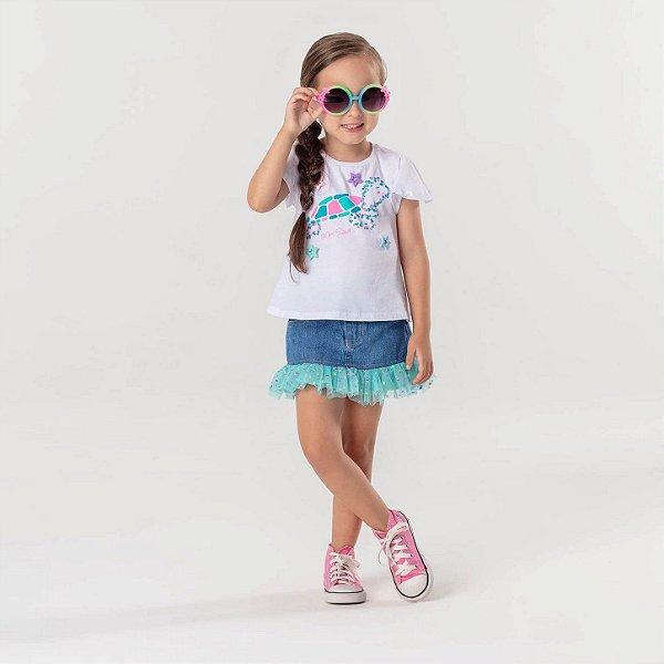 Saia jeans infantil Mon Sucré com tule poá Tamanho 1