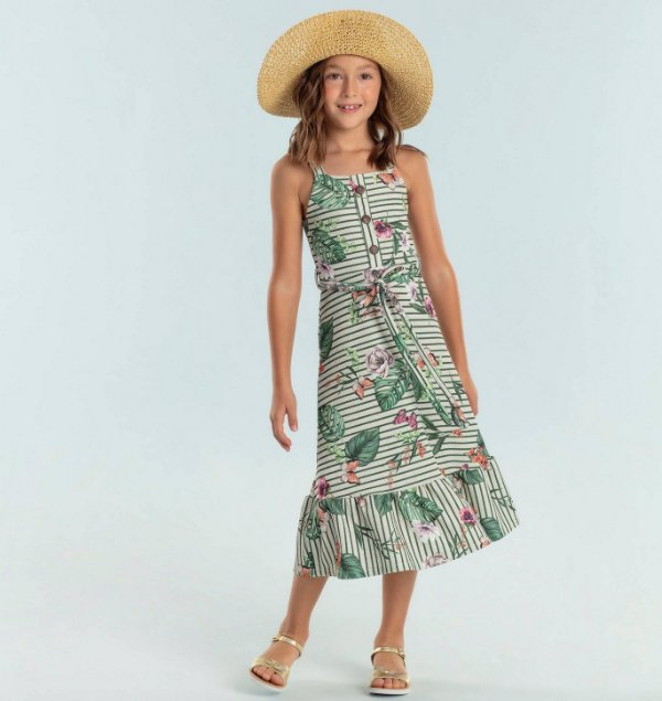Vestido infantil Petit Cherie folhas e borboletas midi verde