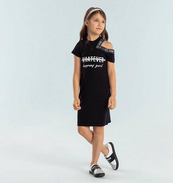 Vestido infantil casual canelado fashion preto Petit Cherie