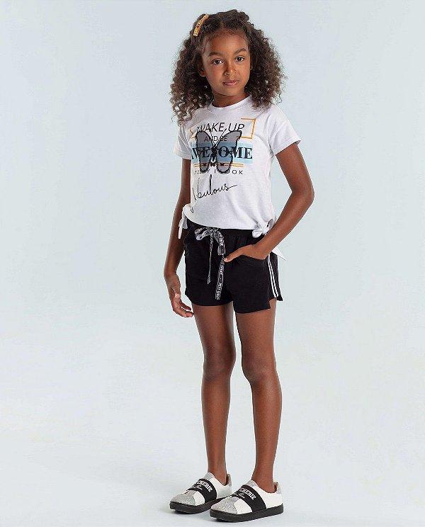 Conjunto infantil Petit Cherie blusinha borboleta com shorts preto
