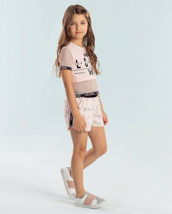 Conjunto infantil Petit Cherie cropped tule rosa shorts floral
