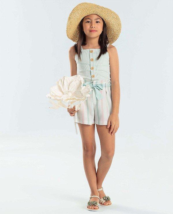 Conjunto infantil Petit Cherie blusinha regata com shorts listrado verde e rosa