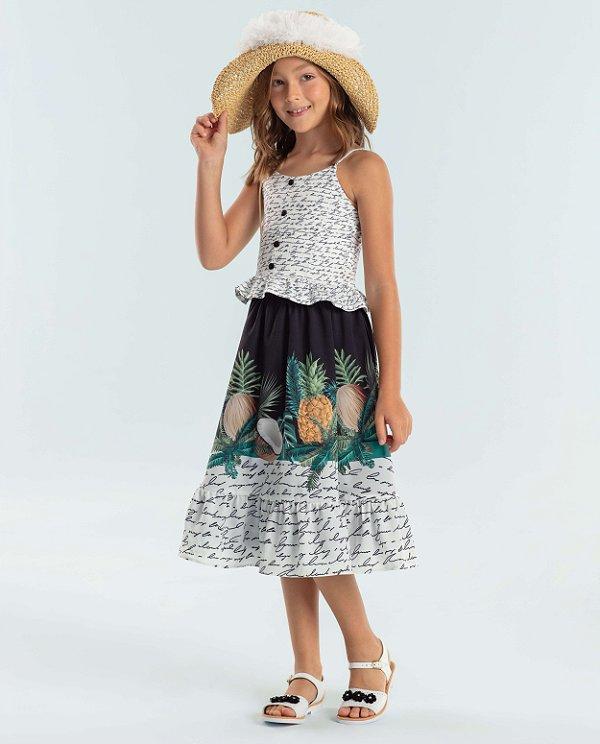 Conjunto infantil Petit Cherie cropped e saia midi florest abacaxi e coco
