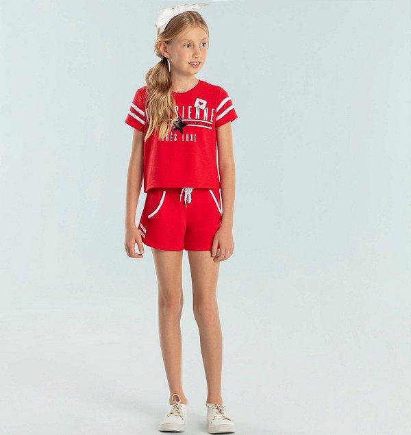 Conjunto infantil Petit Cherie blusa e shorts sport moletinho vermelho Tam 6